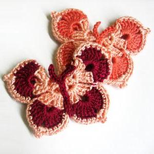 Handmade Crocheted Butterfly Appliq..