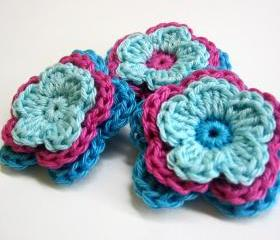 Handmade crocheted cotton flower appliques in turquoise blue and pink 3 pc 2 inches wide