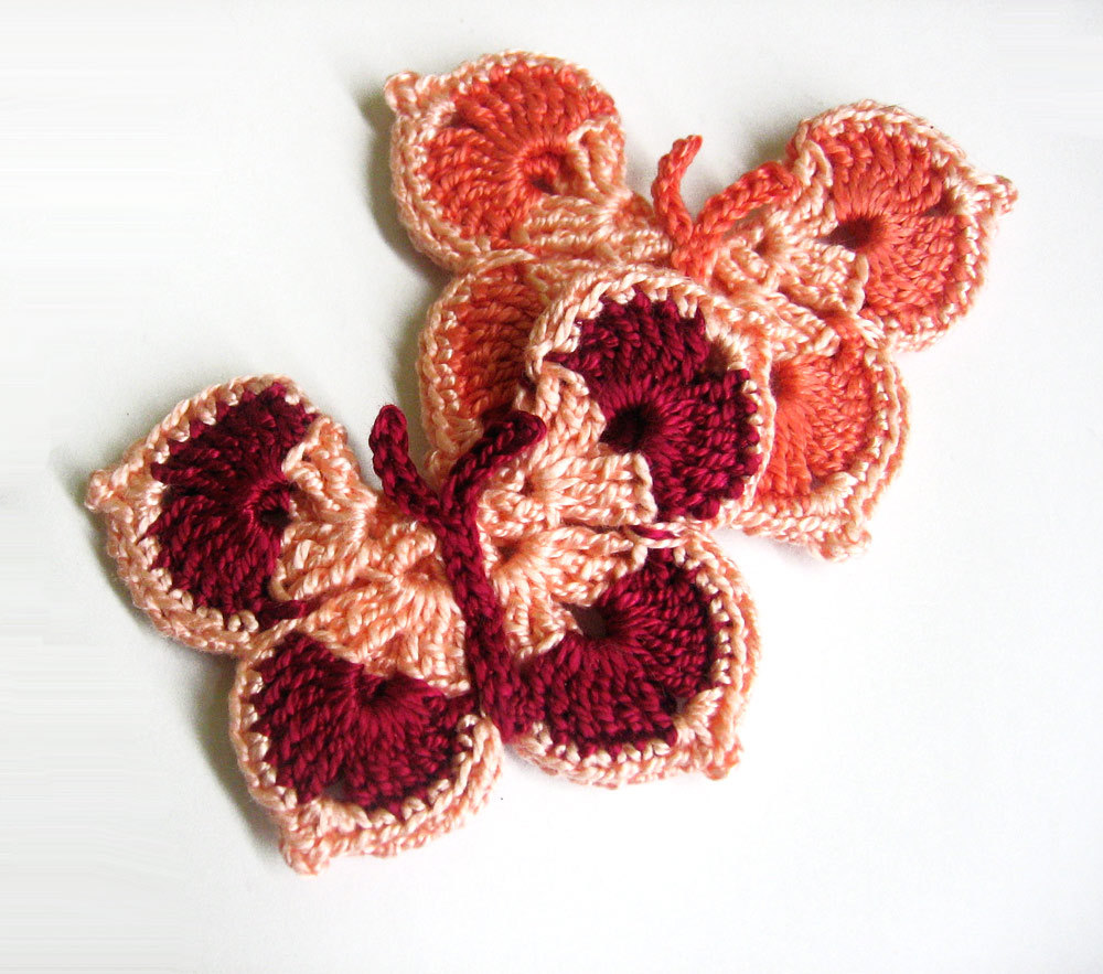 Handmade Crocheted Butterfly Appliques set of 2 in peach pink, maroon red and burned orange