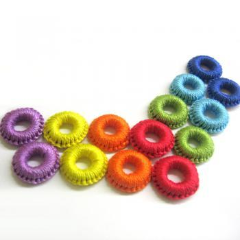 Crocheted hoops handmade wood beads in rainbow shades, 1 inch wide, 14 pc