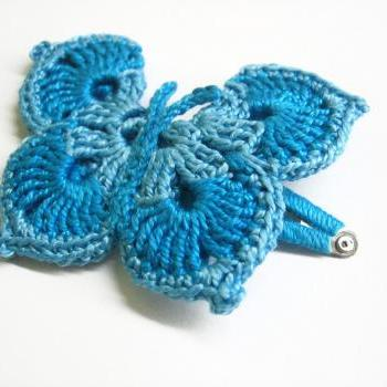 Handmade crocheted hair accessorie large butterfly hair clip 1pc turquoise blue